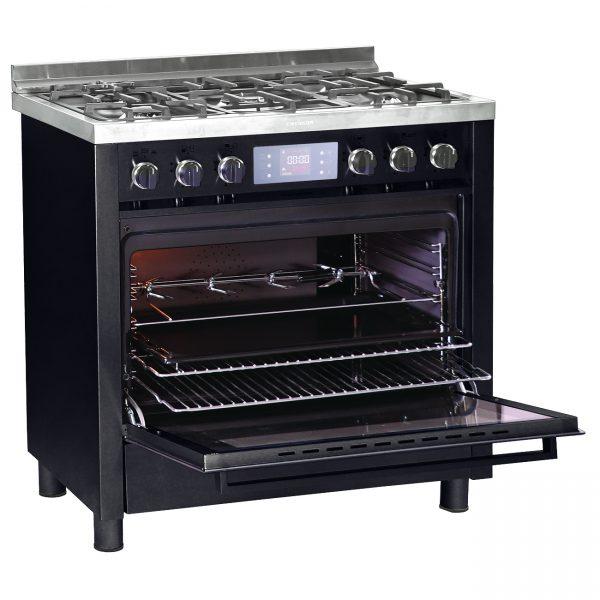 Professional Black Open 97 06 600x600 - اجاق گاز مبله 5شعله امرسان - مدل پروفشنال G5MD/PR